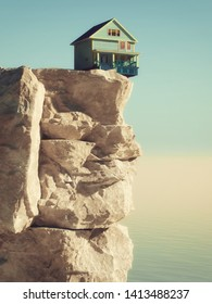 House at the edge of the abyss on a mountain peak at high altitude. This is a 3d render illustration.