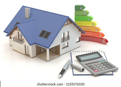 House Energy Efficiency II, 3D illustration