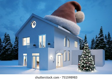 House in the evening in winter with big cap on top for christmas (3D Rendering)