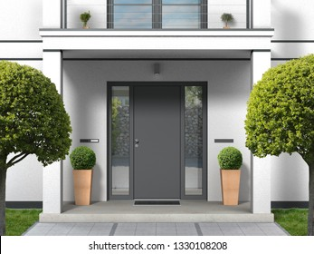 house facade with entrance portal, balcony, pillars and front door - 3D rendering