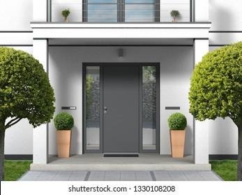 Hausfassade mit Eingangsportal, Balkon, Säulen und Haustür - 3D-Darstellung