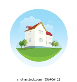 House facade illustration in flat style. Traditional cottage emblem for website design. Real estate for rent for sale template. Landscape with trees, clouds, sky, mountains grass field yard image