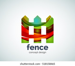 house fence logo template, abstract business icon