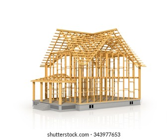 House frame under construction isolated 3d illustration.