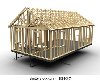House frame under construction - isolated  3d illustration
