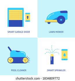 House and garden automation icon set in flat style. Remote controlled garage door, lawn mower, pool cleaner and smart sprinkler.