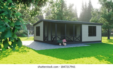 House in the garden. Green lawn. Small house. Morning sunrise in the garden. Wooden house. 3D render