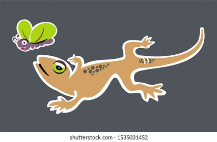 House gecko and insects, cartoon illustration tattoo printing use