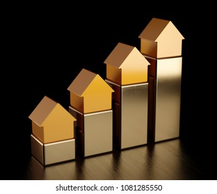 House golden bars chart graph. Growth in real estate. 3d rendering illustration