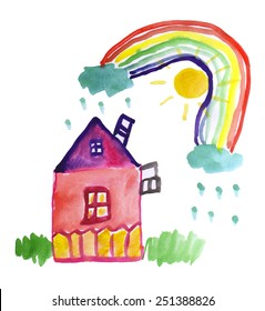 House, grass, clouds with rain, sun and bright rainbow. Child's drawing. Watercolor on paper. Hand drawn picture.