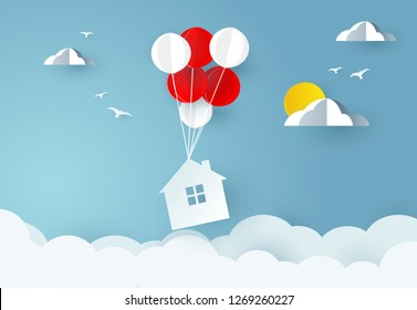 house hanging with balloon on sky. Paper art