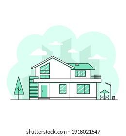 house home thin stroke line design cityscape and landscape