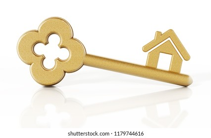 House icon connected to gold key. 3D illustration.
