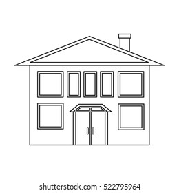 House icon in outline style isolated on white background. Building symbol stock bitmap illustration.