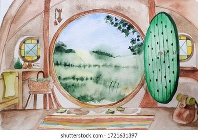 house inside interior green street interior similar to a hobbit house green round door
