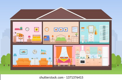 House interior. House in cut. Cross section with rooms bedroom, living room, kitchen, dining, bathroom, nursery. Home inside with roof, tree, sky. Cartoon cutaway illustration in flat design