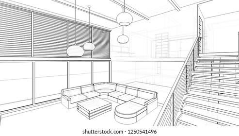 house interior design 3d illustration