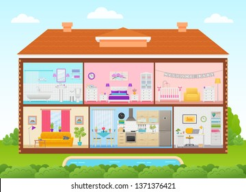 House interior. Home cross section with rooms bedroom, living room, kitchen, office, bathroom, nursery. House inside in cut with roof, pool, tree, sky. Cartoon cutaway illustration flat design