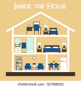 House. House interior. Inside the house. House cross. Cute dollhouse with furniture. House vector. House section on background. Flat style illustration house silhouette with furniture.