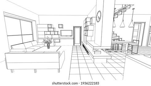 house interior kitchen living room 3d illustration