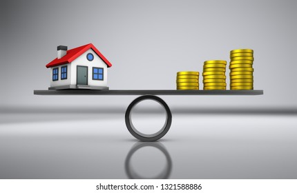 House investment, property value and mortgage concept with balance between home model and money 3D illustration.
