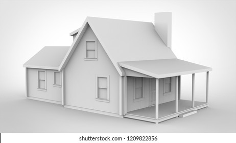 House isolated 3D rendering results from the blender application