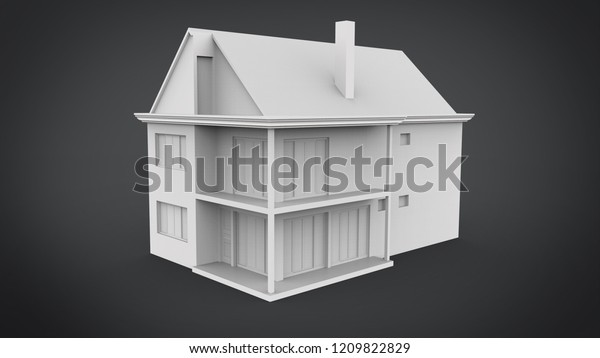 House Isolated 3d Rendering Results Blender Stock