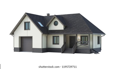 house isolated on white background. 3D rendering