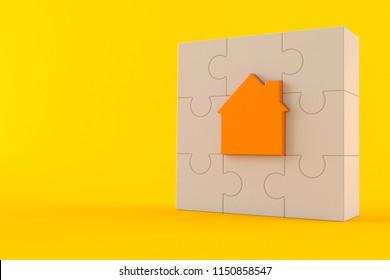 House jigsaw puzzle isolated on orange background. 3d illustration