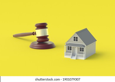 House and judge gavel on yellow background. Building legislation. Buying, selling housing. Lease contract. Property division. Home confiscation. 3d render