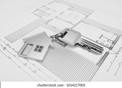 House key for property is on a blueprint (3D Rendering)