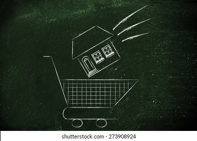 house launched inside shopping cart, concept of buying a property