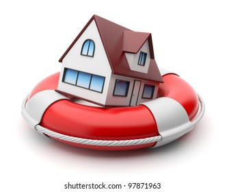 House in lifebuoy. Property insurance concept. Isolated on white background