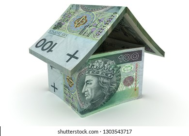 House made of 100 zloty notes  - 3d illustration