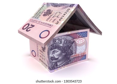 House made of 20 zloty notes - 3d illustration