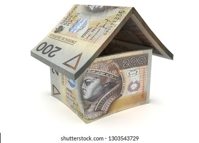 House made of 200 zloty notes - 3d illustration