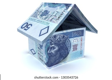 House made of 50 zloty notes  - 3d illustration