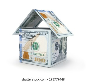 House made with Hundred Dollar Bills Isolated on White Background.