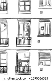 A house with many different windows Sketchy illustration and line art