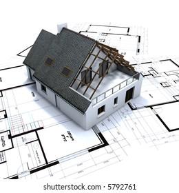 House mockup on architect's blueprints