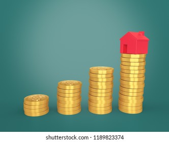 House Model on Stack of Gold Coins 3D Rendering