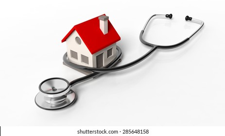 House model with stethoscope isolated on white background