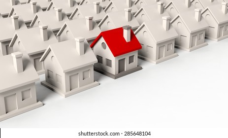 House models with one standing out isolated on white background