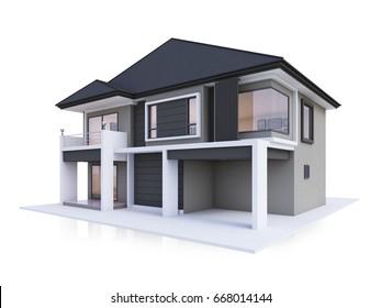 house modern 3D rendering isolate