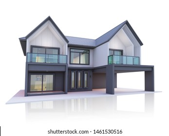 house modern 3d rendering isolated