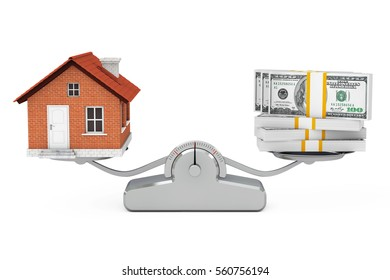 House with Money Balancing on a Simple Weighting Scale on a white background. 3d Rendering.