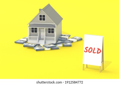 House, money near banner with inscription sold. Building business concept. Real estate company. Affordable housing. Loans for the population. Cost of purchase, sale. 3d rendering