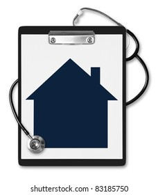 House / mortgage situation concept. Medical clipboard with a house in front.