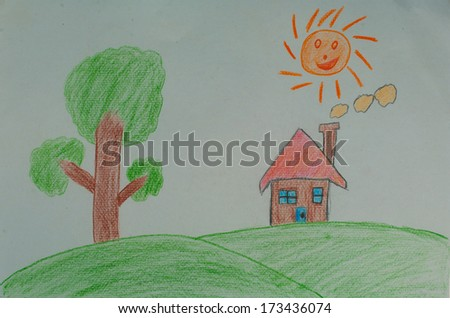 House Mountain Tree Draw By Pencil Stock Illustration 173436074