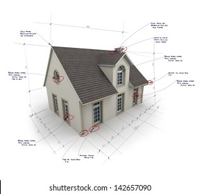 House with notes and measurements